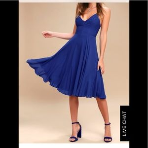 NWOT Lulu's Troulos Royal Blue Lace Up Midi Dress
